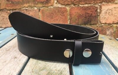 Black Leather Press Stud Snap Belt Choice of Widths Hand Made 100% Real Leather