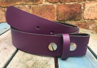 Purple Leather Press Stud Snap Belt Choice of Widths Hand Made 100% Real Leather