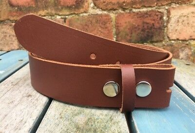 Mid Brown Leather Press Stud Snap Belt Choice of Widths Handmade Real Leather