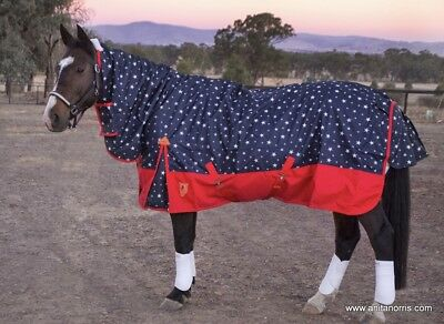 Capriole Navy/Red Stars 600D Winter Waterproof Turnout Combo Horse Rug–Rainsheet