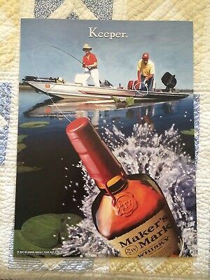 Vintage Makers Mark Bourbon Whisky fishing 18 x 26 Poster NOS NEW *RARE* Keeper