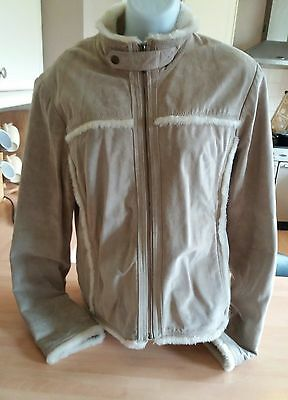 FABULOUS RIVER ISLAND 100% suede jacket. Size 12. Bargain. Fab condition. Beige