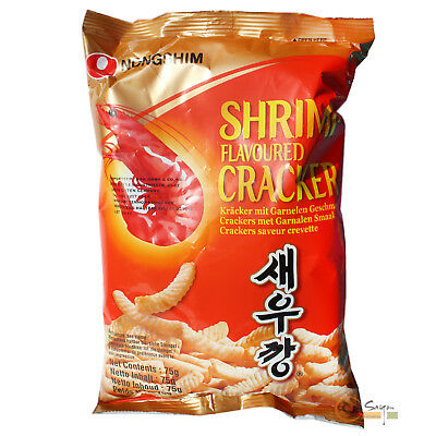 10x75g Nong Shim Shrimps Chips mild Garnelen Chips Krabbenchips Korea