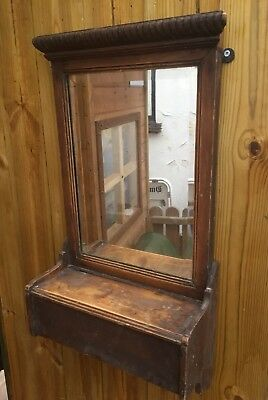 1920's BEVELLED HALL MIRROR WITH PINE SHELF & STORAGE COMPARTMENT