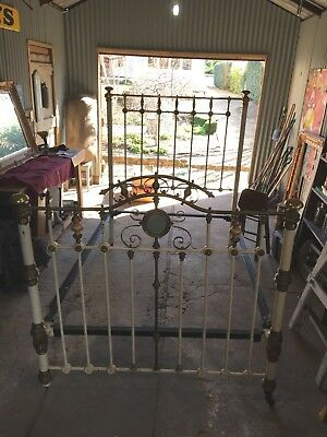 Antique double cast iron and brass double bed