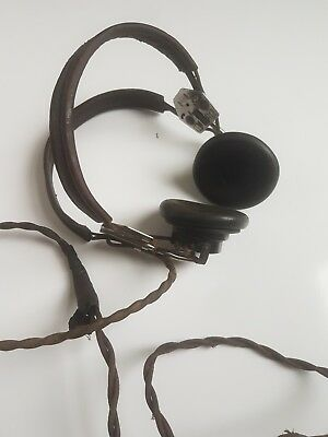 Vintage WW2  Headset, ANB-H-1 Headphones Made by Utah-Chicago Model no. MC-162-A
