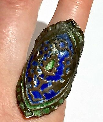 Museum piece possibly Ancient Blue Green Cloisonné Champlevé Enamel Ring