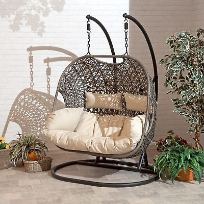 Cocoon Hanging Egg Chair Brampton Rattan Wicker Style With Cushion Cream / Grey