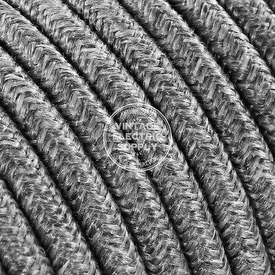 Grey Linen Round Cloth Covered Electrical Wire 18/3 - Braided Linen Fabric Wire