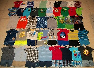 Baby Boys Clothes/Outfits/Bodysuits Lot of 61 Size 12/12-18 months Summer