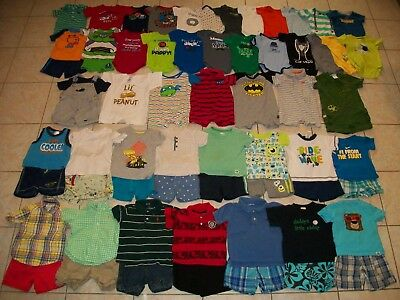 Baby Boys Clothes/Outfits/Bodysuits Lot of 62 Size 12/12-18 months Summer