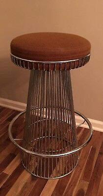 Warren Platner Style Mid-Century Modern Wire Frame Chrome Bar Stool Glomar