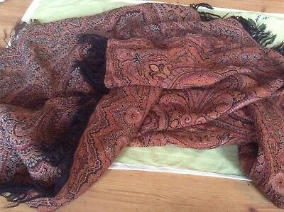 ANTIQUE PAISLEY Piano  SHAWL Scarf 2 Sided
