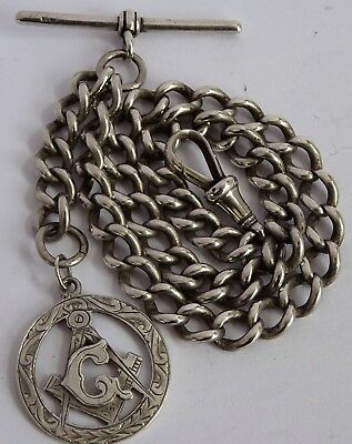 Edwardian solid sterling silver pocket watch albert chain & Masonic fob, 1901