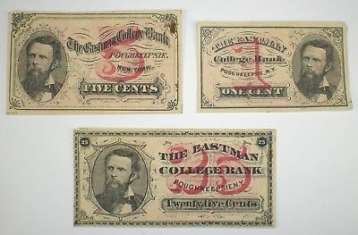 3 Pieces Vintage circa 1880's  Eastman College Bank Fractional Currency ~ NR