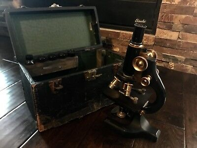Vintage Spencer Buffalo Microscope Brass Max Wocher And Sons Co. Bausch And Lomb