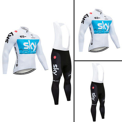 2018 Cycling Long Sleeve Jersey Set Pad Bib Pants Bicycle Biking Clothing Shirt