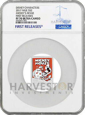 2017 Disney Poster Coin - Mickey'S Revue - Ngc Pf70 First Releases - W/ogp