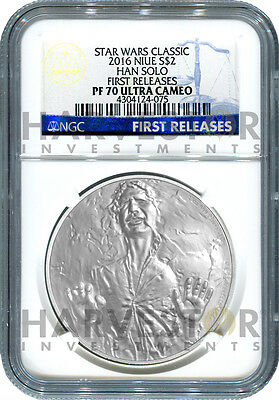 2016 Silver Star Wars Classic - Han Solo - Ngc Pf70 First Releases W/ogp Coa
