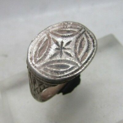 Rare Ancient Byzantine Silver Crusaders Seal Ring