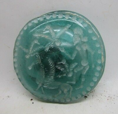 Unresearched Western Asiatic Blue Glass Seal Stamp