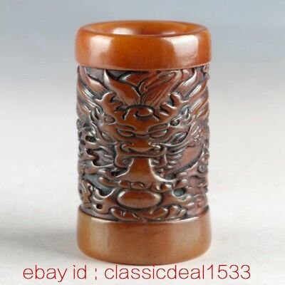 100% Natural Shoushan Stone Handwork Carved Dragon Brush Pot MY0222