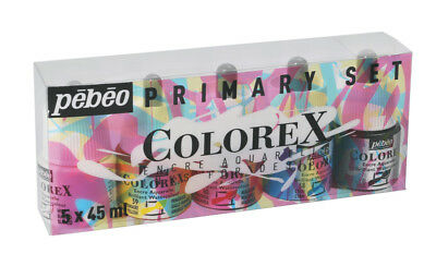 Pebeo Colorex Dye-Based Acuarela Tinta Colores Primarios Set 5 X 45ml