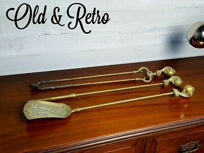 """27.5"""" Vintage Solid Brass Ball & Eagle Claw Fire Irons Fireside Companion set"""