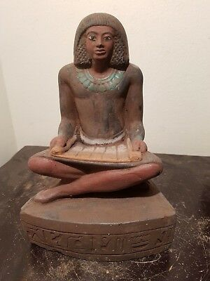 Rare Antique Ancient Egyptian Scribe sitting opening Papyrus 1820-1740BC