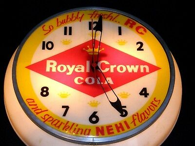"""Vintage 50's RC Royal Crown Cola Lighted Clock Sign """"SO BUBBLY FRESH!.. """""""