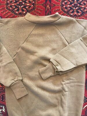 NOS VTG 60s Healthknit Double Fleece Sweatshirt Deadstock Small Cotton Brown