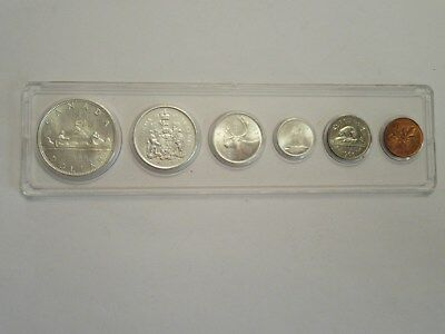 1966 Royal Canadian Mint Proof-Like 6 coin set, 80% silver, acrylic holder