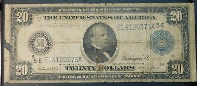 FRN 1914  $20 Bill Steamer Ship and Train !!  No Reserve Auction
