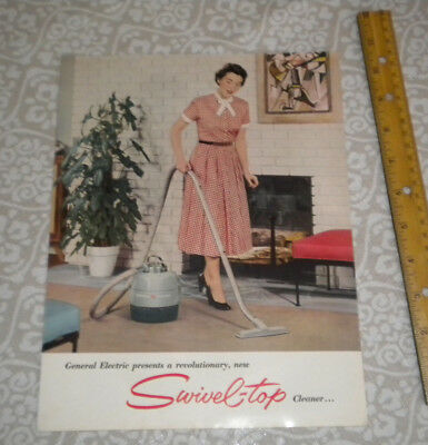 General Electric Swivel Top Vacuum Ad  1950's