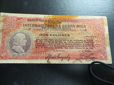 Banco Nacional de Costa Rica 2 Colones 1939 Very Rare