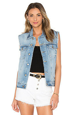 FRAME DENIM Sleeveless Cut Off Original Denim Vest Jean Jacket Blue XS $299