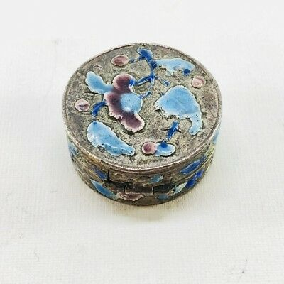 Small Chinese Antique 1920's Pill Box Medicine Case Vintage Repousse Metal