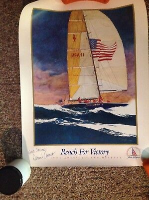 Americas Cup Defense 1992 Dennis Conner Poster/ Signed