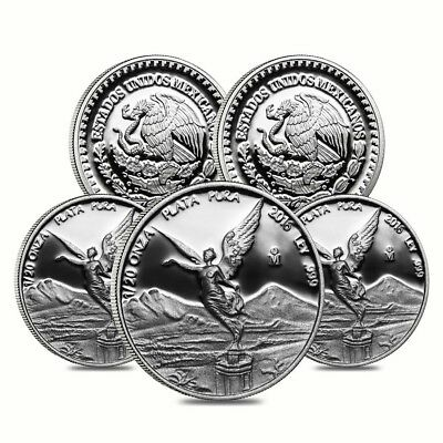 Lot of 5 - 2016 1/20 oz Mexican Silver Libertad Coin .999 Fine Proof (In Cap)