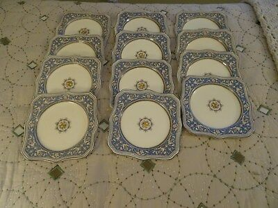 Myott Staffordshire Medici. Square Lunch Plates. 12 Plates. Made In England