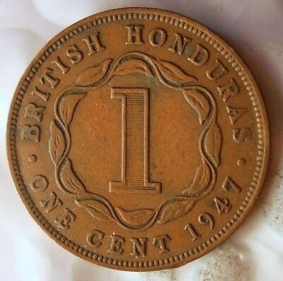 1947 BRITISH HONDURAS CENT - Very Rare LOW MINTAGE Coin - Lot #A17