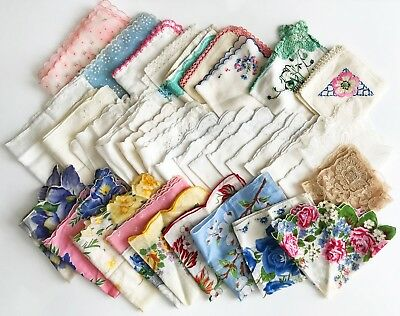 Lot Vintage Handkerchiefs - 35 Hankies Pretty Colors and Designs