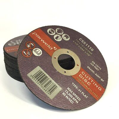 PACK OF 50 PARWELD 115 x 1mm Thin metal cutting discs for mild steel & stainless