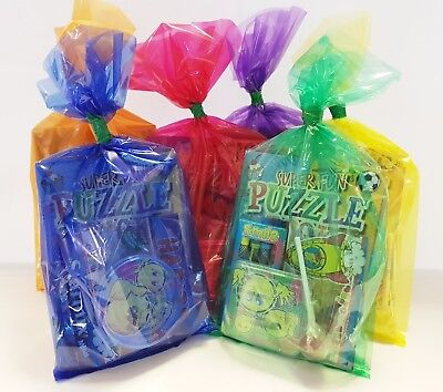 30 x MULTI COLOURED  PRE FILLED KIDS UNISEX PARTY LOOT BAGS FOR GIRLS BOYS