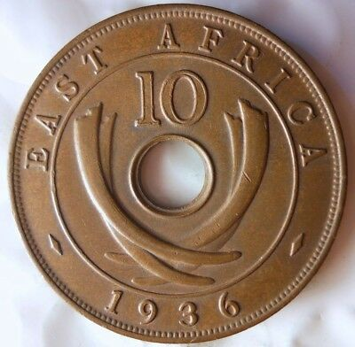 1936 H BRITISH EAST AFRICA 10 CENTS - AU/UNC - Great Colonial Coin - Lot #A17