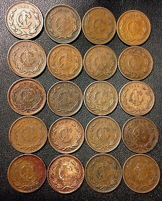 Old Mexico Coin Lot - 1906-1948 - 20 Excellent Centavo Coins - Lot #A17