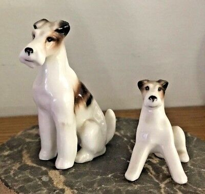 2 Vintage S. S. Bone China Terrier Dog Mom Or Dad W Puppy Figurine Set