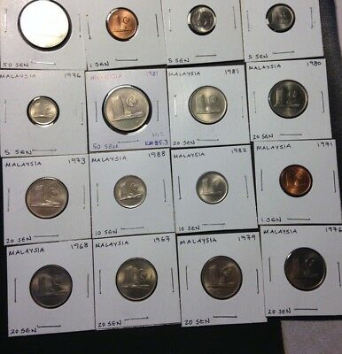 Old MALAYSIA Coin Lot -16 CARDED AU/UNC COINS - Lot #A17