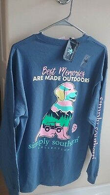 NWT Simply Southern Long Sleeve T Shirt Womens Large Best Memories are Made Dog