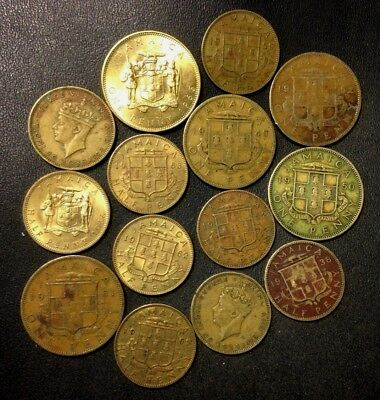 Old Jamaica Coin Lot - 1938-1966 - 14 VINTAGE Coins - Lot #A17